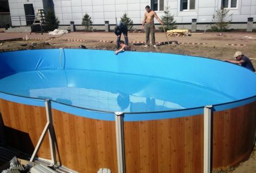 Установка сборно-разборного бассейна
